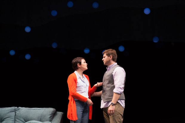 Ginnifer Goodwin and Allen Leech in a scene from Constellations at the Geffen Playhouse.