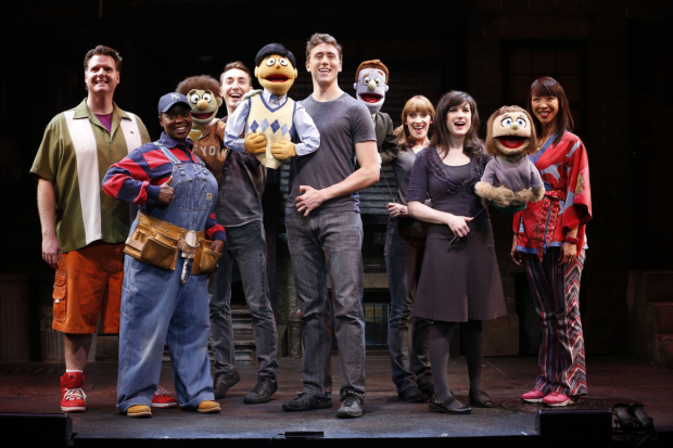 The 2013 cast of Avenue Q, now running at New World Stages.