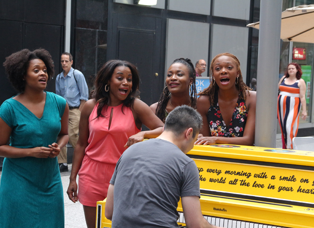 The ladies of Beautiful: The Carole King Musical celebrate Sing for Hope.
