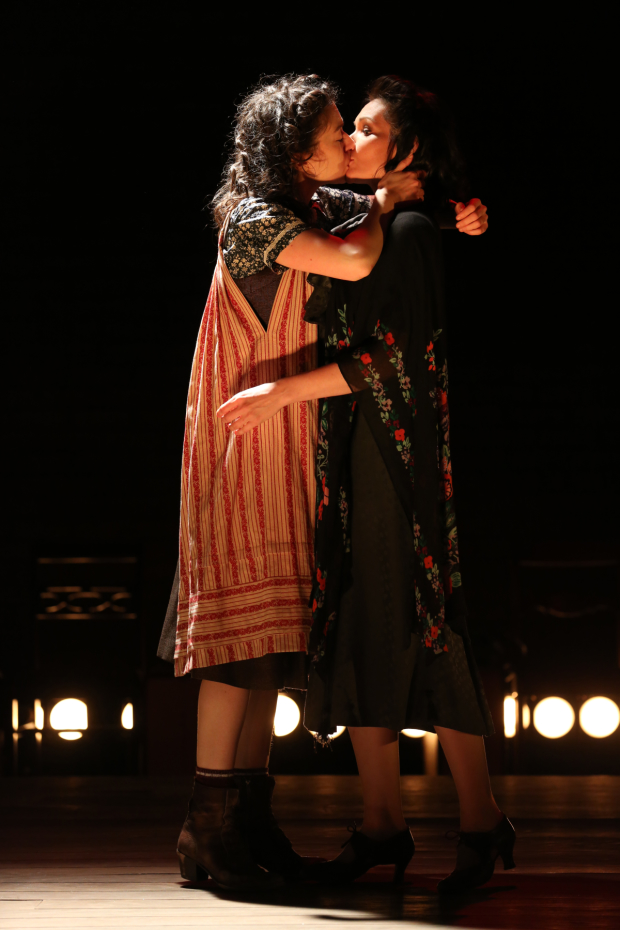 Adina Verson and Katrina Lenk share a kiss during the off-Broadway run of Indecent and the Vineyard Theatre.