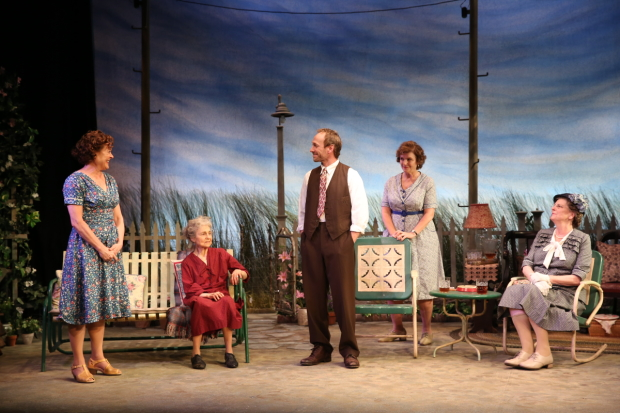 Karen Ziemba, Lynn Cohen, PJ Sosko, Angelina Fiordellisi, and Jill Tanner star in The Traveling Lady off-Broadway.