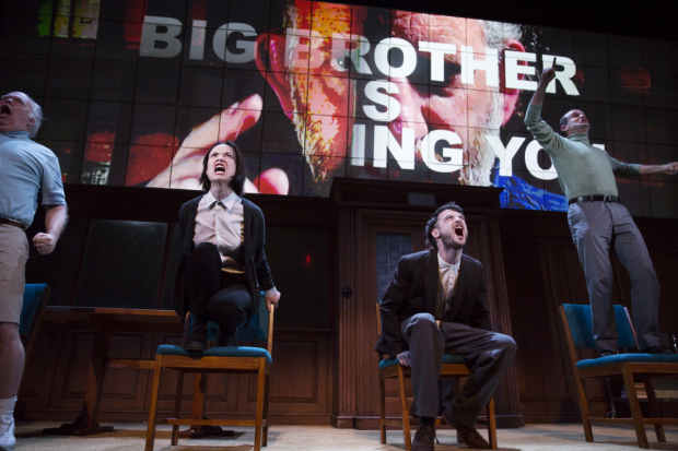 Olivia Wilde and Tom Sturridge star in George Orwell's 1984, adapted and directed by Robert Icke and Duncan MacMillan, at Broadway's Hudson Theatre.