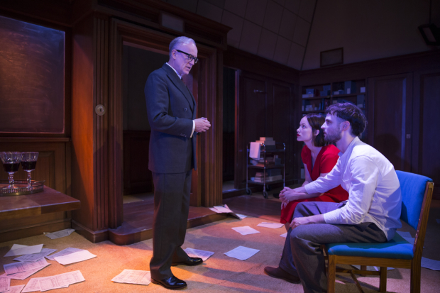 Reed Birney plays O'Brien, Olivia Wilde plays Julia, and Tom Sturridge plays Winston in 1984 on Broadway.