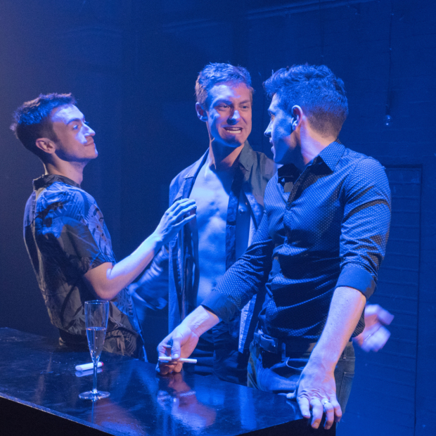 Patrick Reilly, Brandon Haagenson, and Robbie Simpson star in Afterglow, written and directed by S. Asher Gelman, in the Loft at the Davenport Theatre.