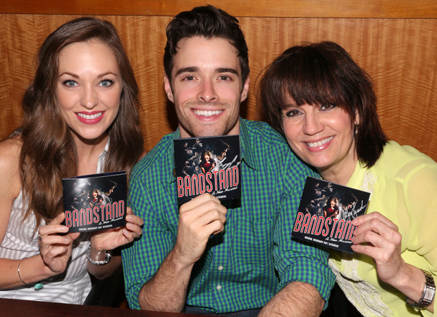 Laura Osnes, Corey Cott, and Beth Leavel show off their Bandstand CDs.
