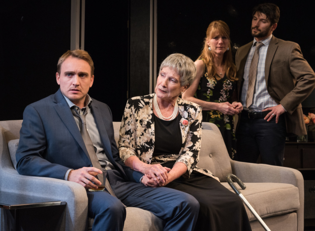 Ben Curtis, Kathleen Huber, Julie Campbell, and Jacques Mitchell star in ''The Crusade of Connor Stephens, written and directed by Dewey Moss, at the Jerry Orbach Theater.