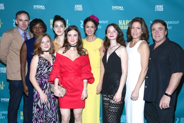 The company of Napoli, Brooklyn on opening night at the Laura Pels Theatre.