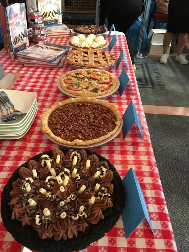 An assortment of pies were placed on display.