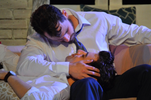 Chris Krause (top) as Mark and Jack D. Martin as Sam in Sonder, directed by Joseph C. Walsh, at the Players Theatre.