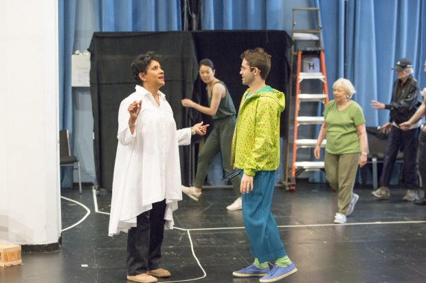 Phylicia Rashad works with choreographer Chase Brock in rehearsal for A Midsummer Night's Dream, directed by Lear deBessonet.