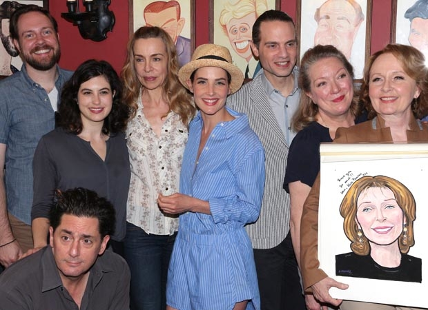 Kate Burton is congratulated by her Present Laughter family members, including director Mortiz von Stuelpnagel, Reg Rogers, Tedra Millan, Ellen Harvey, Cobie Smulders, producer Jordan Roth, and Kristine Nielsen.