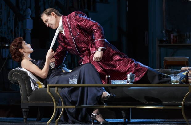 Cobie Smulders and Kevin Kline get intimate in Present Laughter on Broadway.