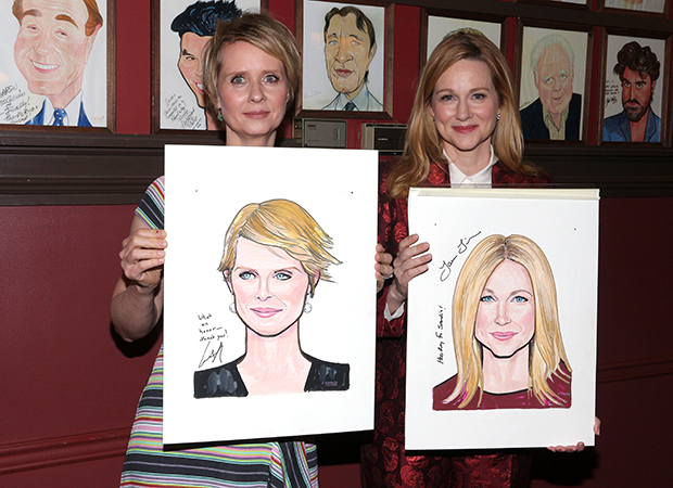 Cynthia Nixon and Laura Linney show off their Sardi's caricatures.