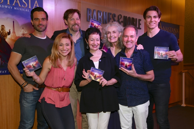 Company members of Anastasia celebrate the Original Cast Recording at an event at Barnes & Noble.