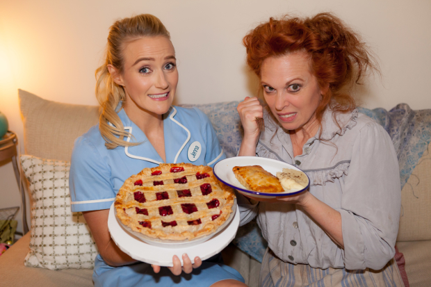 Waitress star Betsy Wolfe and Sweeney Todd leading lady Carolee Carmello trade pies at the Brooks Atkinson Theatre.