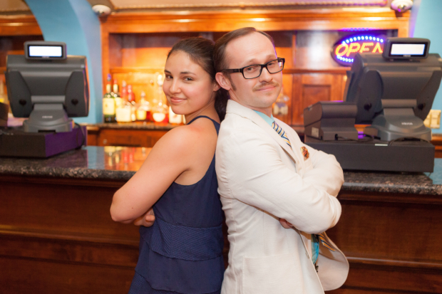 Hayley Levitt and Zachary Stewart square off at the upstairs bar at Broadway's Brooks Atkinson Theatre, home of Waitress.