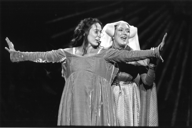 Elizabeth Marvel and Kristine Nielsen perform the infamous dressing scene in the 1996 Shakespeare in the Park production of Henry V.