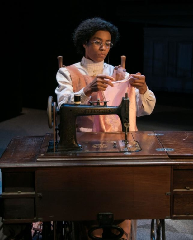 Kelly McCreary stars as Esther in Intimate Apparel, directed by Scott Schwartz, at Bay Street Theater.
