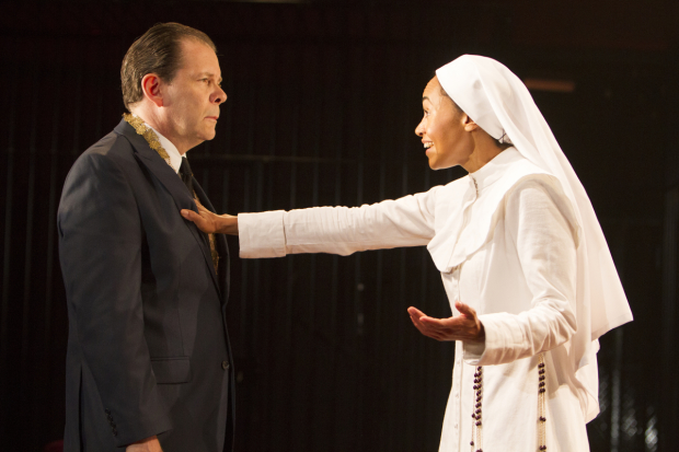 Thomas Jay Ryan plays Angelo, and Cara Ricketts play Isabella in Shakespeare's Measure for Measure, directed by  Simon Godwin, at Theatre for a New Audiences Polonsky Shakespeare Center.
