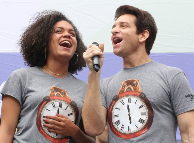 Barrett Doss and Andy Karl sing from Groundhog Day at Broadway in Bryant Park.