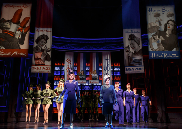 Christine Ebersole, Patti LuPone, and the cast of War Paint at the Nederlander Theatre.