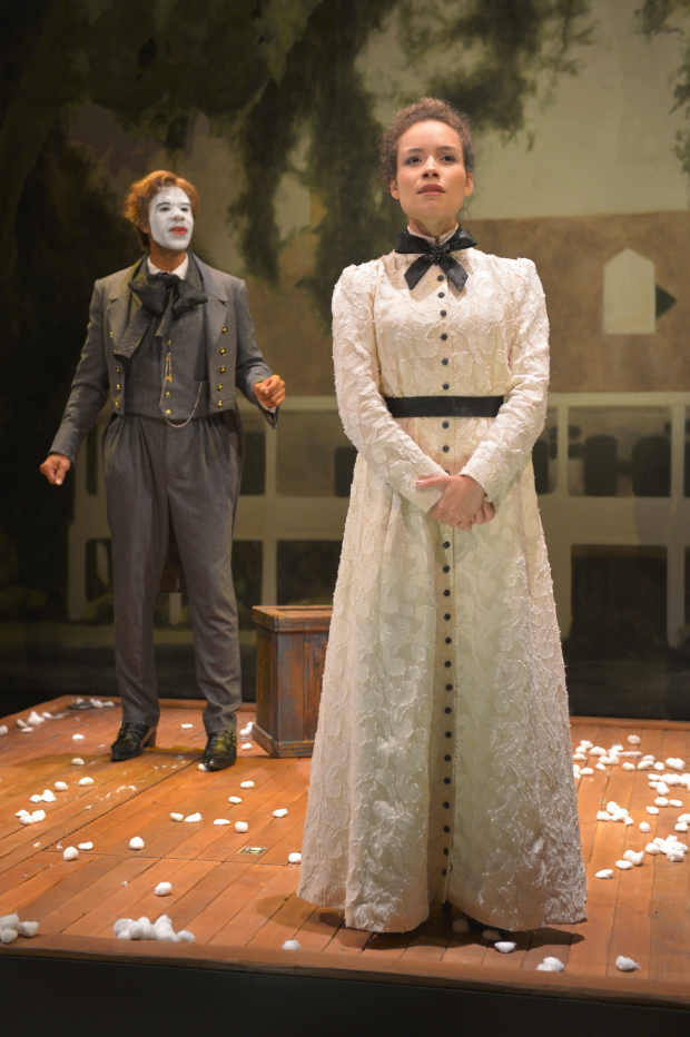 Lance Gardner (left) as George and Sydney Morton (right) as Zoe in the West Coast premiere of An Octoroon at Berkeley Rep, which has just been extended to June 29.