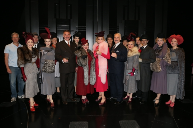 The company of War Paint toasts their 100th performance.
