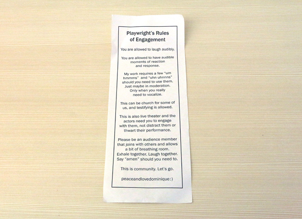 Dominique Morisseau's Playwright's Rules of Engagement leaflet.