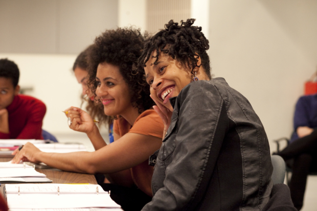 Director Lileana Blain-Cruz and playwright Dominique Morisseau in rehearsal for Pipeline.