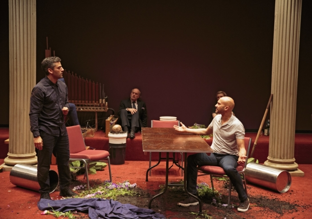 Oscar Isaac and Keegan-Michael Key star in Hamlet, directed by Sam Gold, at the Public Theater.