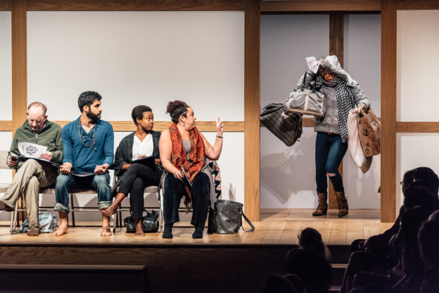 Max Baker, Babak Tafti, Quincy Tyler Bernstine, Marcia DeBonis, and Zoë Winters in Bess Wohl's Small Mouth Sounds, directed by Rachel Chavkin.