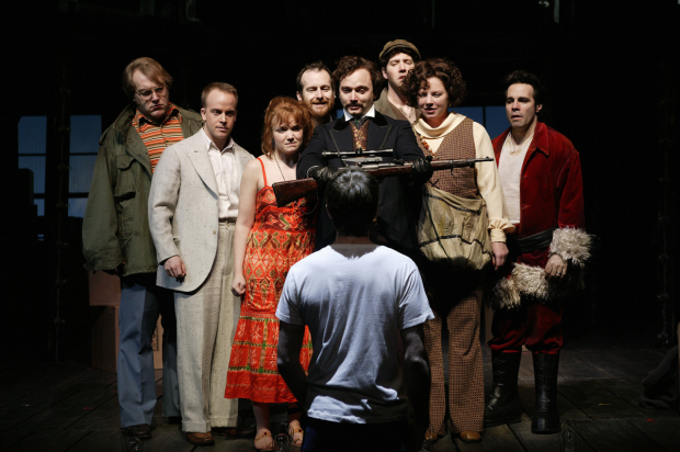 A scene from Roundabout Theatre Company's 2004 revival of Assassins, directed by Joe Mantello at Studio 54.