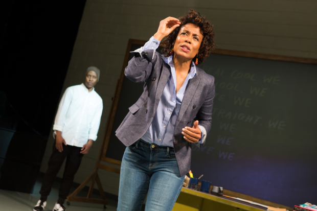 Karen Pittman (foreground) and Namir Smallwood (background) in Pipeline, directed by Lileana Blain-Cruz, at Lincoln Center's Mitzi E. Newhouse Theater.