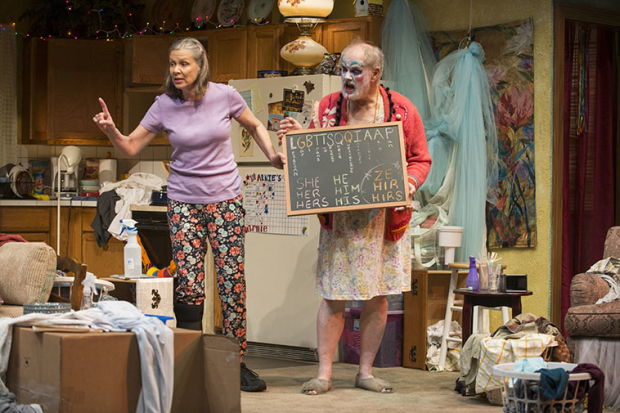 Amy Morton (Paige) and Francis Guinan (Arnold) in Taylor Mac's Hir, directed by Hallie Gordon, at Steppenwolf Theatre.