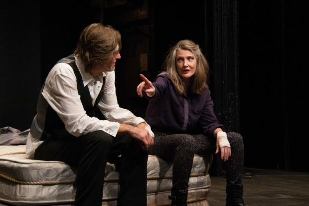 Michael Laurence and Annette O'Toole in Laurence's drama Hamlet in Bed during its pre-Ediburgh Fringe Festival run.