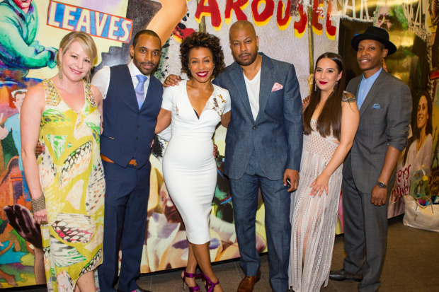 The cast of Pipeline, directed by Lileana Blain-Cruz, celebrates opening night at Lincoln Center's Mitzi E. Newhouse Theater.