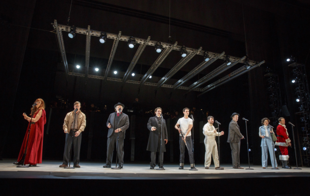The cast of the Encores! Off-Center production of Stephen Sondheim and John Weidman's Assassins, directed by Anne Kauffman, at New York City Center.