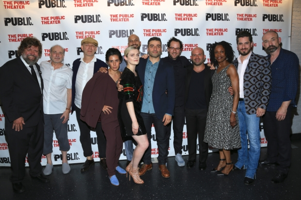 The company of Hamlet celebrates opening night at The Public Theater.
