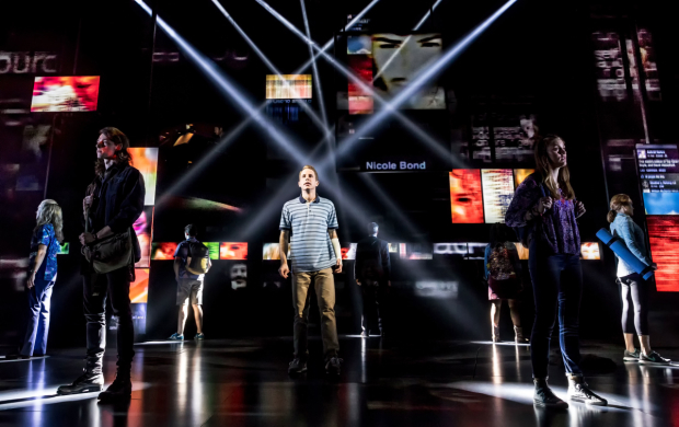 Ben Platt and the cast of Dear Evan Hansen at Broadway's Music Box Theatre.