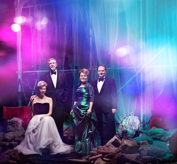 Janie Dee, Philip Quast, Imelda Staunton, and Peter Forbes star in Follies, directed by Dominic Cooke at the National Theatre.