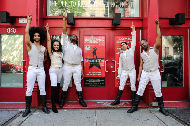 The cast of Spamilton, written and directed by Gerard Alessandrini celebrates one year off-Broadway.