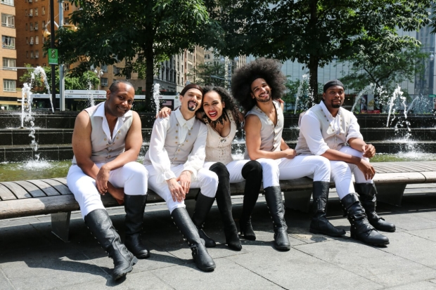 The cast of ''Spamilton: Chris Anthony Giles, Dan Roseles, Nicole Vanessa Ortiz, Tristan J. Shuler, and Aaron Michael Ray,
