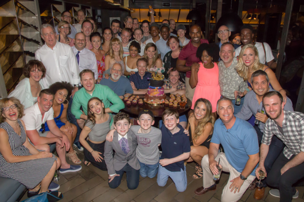The company of Charlie and the Chocolate Factory celebrate 100 performances.