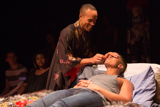 Michael Rishawn and Jaysen Wright in a scene from Wig Out!, directed by Kent Gash, at Studio Theatre.