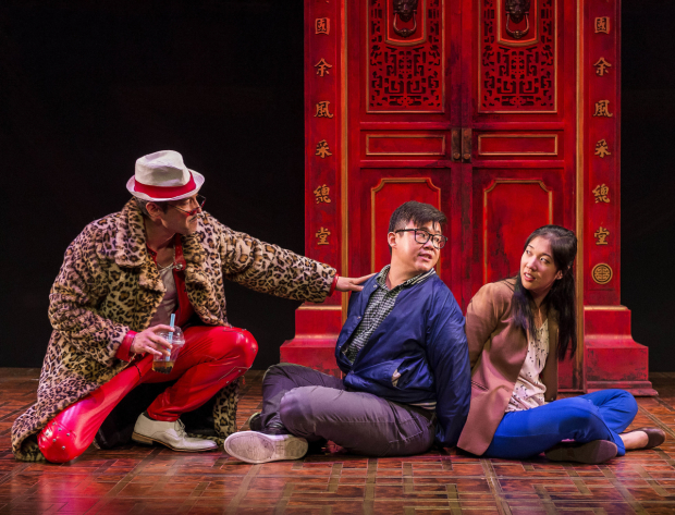 Daniel Smith, Rammel Chan, and Stephenie Soohyun Park in the world premiere of King of the Yees, directed by Joshua Kahan Brody, at Center Theatre Group's Kirk Douglas Theatre.