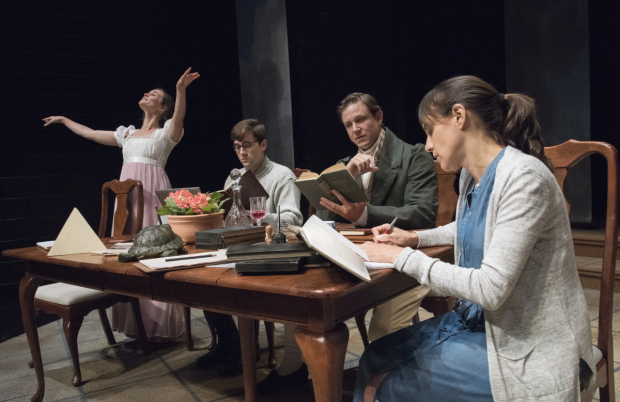 Caitlin Duffy (Thomasina Coverly),  Jackson Prince (Valentine  Coverly),  Andrew William Smith (Septimus Hodge), and Stephanie Janssen (Hannah Jarvis) in a scene from Arcadia, directed by Cheryl Faraone.