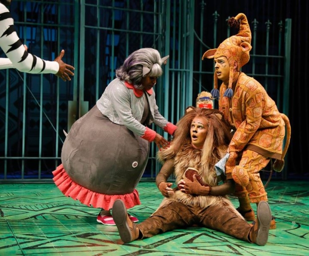 Lisa Estridge (Gloria), Stephen Schellhardt (Melman,) and Jordan Brown (Alex) in a scene from Madagascar, directed by Rachel Rockwell, at Chicago Shakespeare Theater.