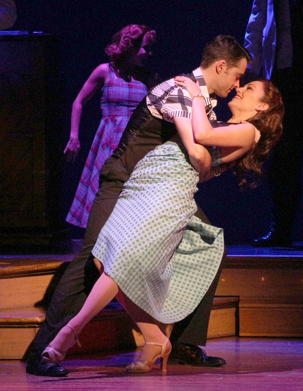 Corey Cott and Laura Osnes during the grand finale of Bandstand.