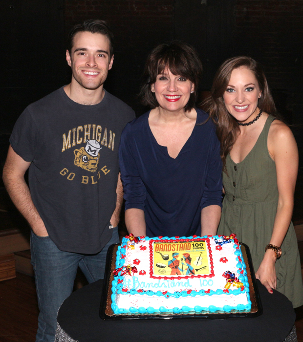 Corey Cott, Beth Leavel, and Laura Osnes toast their 100th show.
