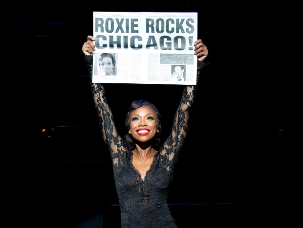 Brandy Norwood as Roxie Hart in Chicago on Broadway.